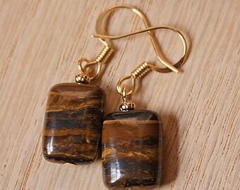 Handmade Brown Earrings Tiger Iron Gemstone Brown Gemstone Earrings Brown Dangle Earrings Brown Stone Earrings Dark Brown Earrings