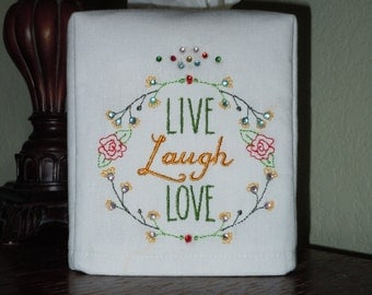 White Linen Tissue Box Cover -  LIVE - LAUGH - LOVE - Made To Order