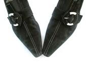 Vintage Heels Black Suede Buckle Detail Steampunk Designer Gabor 1980 80s SZ 8 Größe 38