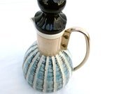 Ceramic Mid Century Modern Carafe by C.Miller Pitcher 1960 60s Decanter Bottle Blue Striped