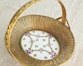 Antique Brass Mount Porcelain and Woven Brass Basket