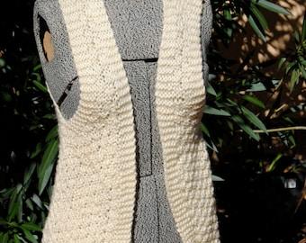 Vintage Hand Knit Acrylic Cream Vest