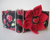 Valentine Martingale Collar and Matching Flower, Greyhound Martingale Collar, Valentine Dog Collar, Hearts, Roses