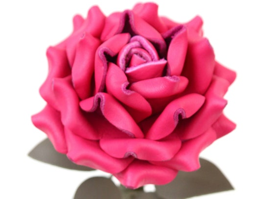 Hot Pink Leather Rose third Anniversary wedding gift Long Stem leather flower Valentine's Day 3rd Leather Anniversary Mother's Day