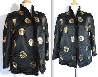 Vintage 1960's Jacket // 60s Black Satin Mandarine Lounge Jacket with Gold Print and Fur Trim // Lady From Shanghai