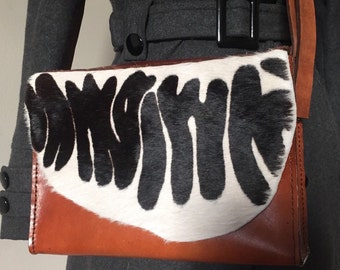 Print Bag-Brown Leather and Black/White Zebra Print