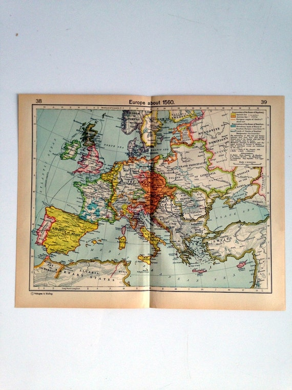 Double Sided Medieval Map - Europe and its expansion  - Europe 1560