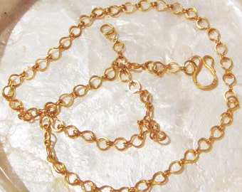 Solid 22k Yellow Gold Sailor's Knot Necklace Chain 18inch length