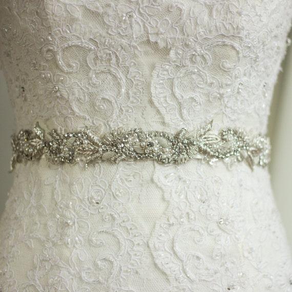 Wedding belt sash rhinestone sash wedding dress belt sash for How to make a beaded belt for a wedding dress