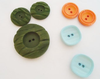 Seven Colorful Japanese Buttons. 60s