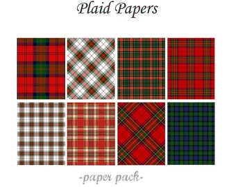 CHRISTMAS PLAID PAPERS  - Scottish Tartans and Xmas Plaids - Digital Paper Pack -10 Scottish Plaid Printable Papers,Instant Download Digital