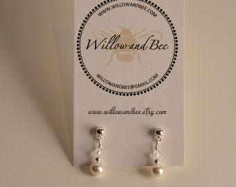 First Communion Earrings Silver & Swarovski elements