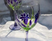 Purple Brodieas Flowers Wine Glass Hand Painted Purple and Green