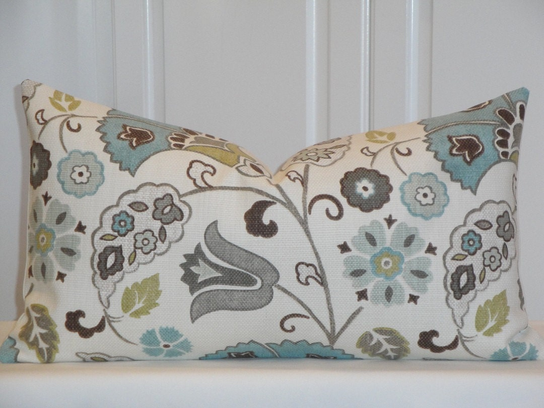 Decorative Pillow Covers 22 X 22 : Decorative Pillow Cover 12 x 22 Grey Teal Brown