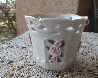 Porcelain  Bloom Rite Planter With Pink Roses