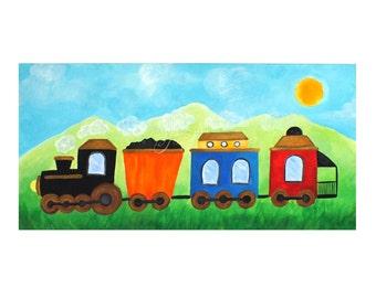 Boys nursery art, TRAIN #2, 12x24 inch acrylic canvas painting for childrens room, wall art for kids