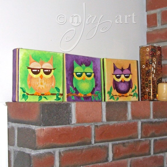 3 Whimsical Owl Paintings - Commission your own set of 3 6x6x1.5 acrylic canvas