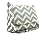 Gray Chevron Handbag, Women's Messenger Bag, Gray Chevron Purse, Gray Zig Zag Crossbody Bag, Chevron Purse, Gray White and Yellow Messenger