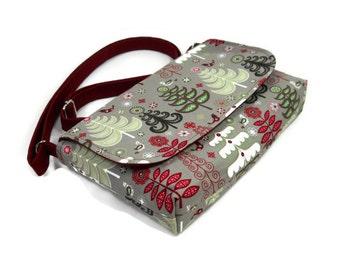 Small Christmas Purse, Tree Bag, Winter Trees on Gray, Small CrossbodyBag, Mini Messenger Bag for Women, Fabric Pocketbook,  iPad Mini Bag