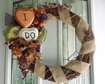 "Rustic Wedding grapevine wreath ""I DO"" Fall burlap eggplant metallic ribbons gourds berries"