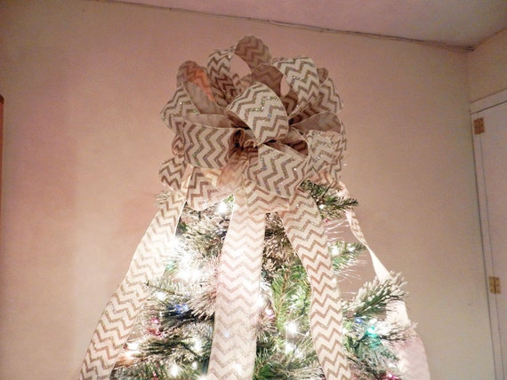 Off White Gold Glitter Chevron Burlap Topper Bow