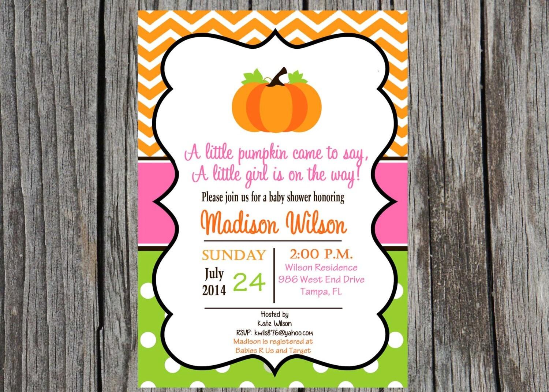 pumpkin baby shower invitation little pumpkin by printyourevent