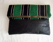 Oversiezed Clutch Bag, Striped Canvas and Leather Fold Over Purse