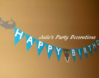 Shark Birthday Banner