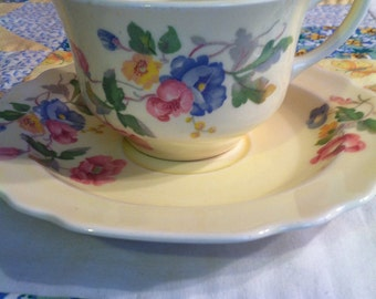 Vintage W S George 2 Piece Tea Cup Set Pattern GEO178 Lido Shape Made in The USA
