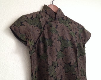 vintage Brown and Green floral qipao sz S