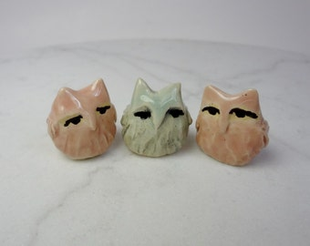 Pastel Owl Terrarium  Miniatures - Owl Figurines - Spring Colored Owls - Pottery Owls - Clay Owl Figurines  -set of 3 (studio choice)