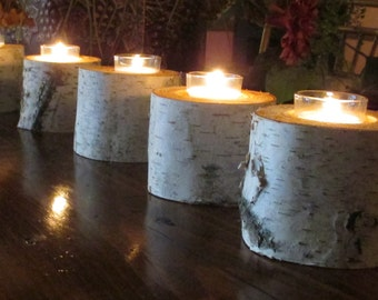 "Birch  Votive Candle  Holders  Holiday   3"" Tall Wedding Centerpieces, Bridal Shower Decor Table Decor"