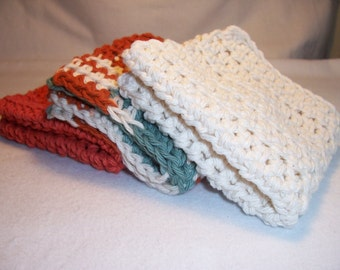 "Set of 3 Handmade Crocheted Dish/Washcloths - Crochet Dish/Washcloths - Kitchen Dishcloths - 100% Cotton - 8.5"" x 8.5"""