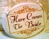 Here Comes The Bride Wedding Sign GOLD & CRYSTALS Flower Girl Sign Ring Bearer Sign Gold Wedding Decoration