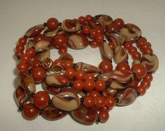 "Vintage Flapper Long Necklace Agate Glass Beads Carnelian Glass Beads 1920 Flapper Length  Long 56"" Long"