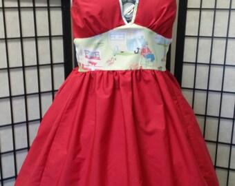 SALE!!! Vintage glamper print Marilyn Monroe style halter dress - Rockabilly - retro - size L - Free shipping!