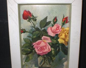 Rose print Klein style Franklin Picture company Romantic cottage shabby style Paris apt
