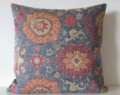 Bohemian pillow cover blue red 22x22 decorative throw pillow covers