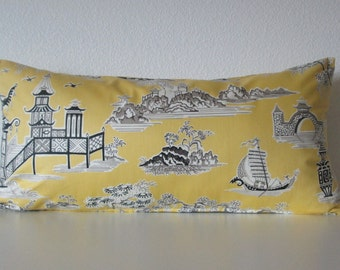 12x24 Peaceful Temple Lemongrass yellow oriental toile decorative pillow cover