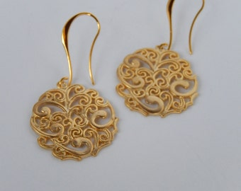 Gold Earrings, Round Earrings, Dangly Earrings, Gift for Her, Filagree Earrings