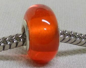 Transparent Orange Lampwork Bead, Silver Cored Large Hole Handmade Lampwork Bead