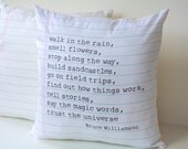 TWO covers, 16x16 pillow cover, 16 inch throw pillow, cushion cover  poem and notebook paper  41cm