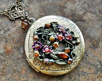 Crystal Garden Brass Locket by Enchanted Lockets