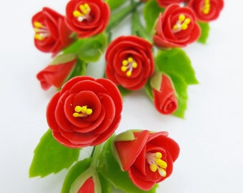 Bloody Roses, Miniature Polymer Clay Flowers Supply for Dollhouse with set of leaves 6 Bunches