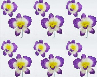 Handmade Polymer Clay Flowers Dendrobium Orchid, 12 pieces