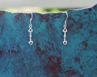 Tiny Snaffle Bit Earrings Sterling Silver,Equestrian Jewelry,Horse Earrings