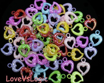 Wholesale. 360 Heart Acrylic Ring Charms. AB Mix Colors.