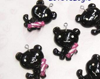 4 Huge Glitter Baby Bear with Candy Lucite Charms.Black Tone.