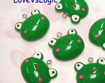 4 Puff Frog Lucite Charms.
