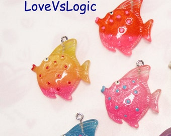 4 Glitter Tropical Fish Lucite Charms.Mix Colors
